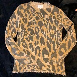 Distressed Leopard Print Sweater